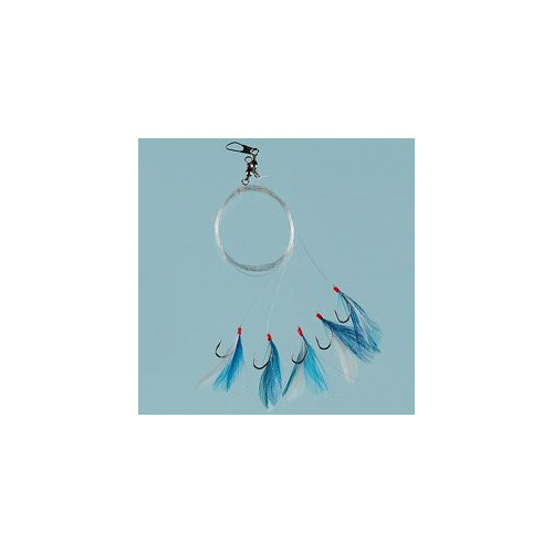 Feather blue/white/glitter 5 hooks size 1/0 0.60mm line