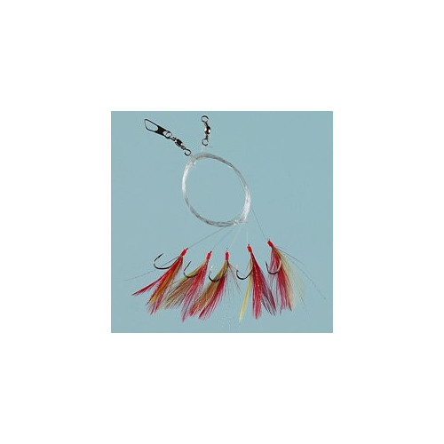 Feather red/yellow/glitter 5 hooks size 1/0 0.60mm line
